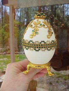 REAL Decorated Goose Egg Trinket/Jewelry Box Mother's Day Gift Birthday May in Collectibles   eBay