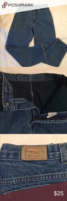 LL Bean Flannel Lined Ladies Winter Jeans Great used condition, worn once, lined with thick green flannel for those cold winter days. Boot cut size 8 LL Bean Jeans Boot Cut