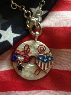 Pretty Patriotic Washer Pendant by KsPeddlers on Etsy. Visit www.facebook.com/washerwear