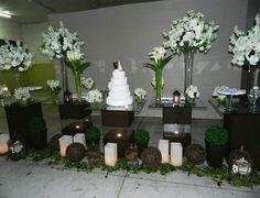 Aluguel Decoração de Casamento Mesa do Bolo em Vidro Marrom