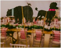 Eclectic creative touches. This couple incorporated their 'spirit animals' into their day with cute wedding toppers and these laser cut table markers on 'top table'.  #creativeweddingdesign. Images by Lucabella. www.lucabella.co.uk