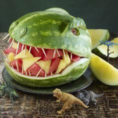 Watermelon Dinosaur this years birthday watermelon for sure!