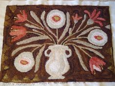 """Tulip and Peony rug by ticklepie, pattern from Maggie Bonanomi's book """"A Day at Sunnybrook,"""" 24"""" x 34 in."""