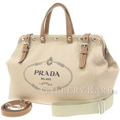 プラダ ボストンバッグ キャンバス ベージュ がま口 ロゴ PRADA バッグ 2wayバッグ
