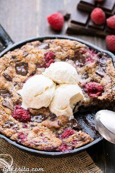 Raspberry Chocolate Chunk Skillet Cookie