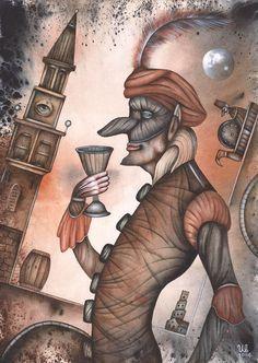 Wine Glass by Eugene Ivanov #cirque #circus #clown #clownery #illustration #eugeneivanov #@eugene_1_ivanov