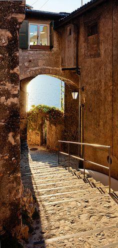 Narrow Lakeside Street at Sunrise - Gandria, Lugano, Switzerland