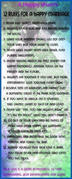 12 rules for a happy marriage…and just a happy relationship in general! I love it! happy marriage advice 12 rules for a happy marriage…and just a happy relationship in general! I love it! Marriage Tips, Love And Marriage, Relationship Advice, Healthy Marriage, Strong Marriage, Relationship Science, Relationship Repair, Marriage Preparation, Marriage Pictures