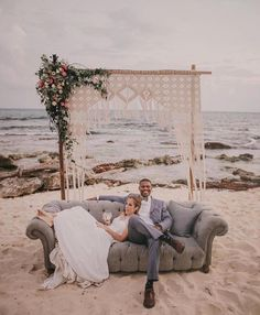 Macrame wedding arch for bohemian beach wedding #macrameweddingstyle