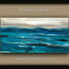 """Huge original Modern art decor Impasto Texture Abstract Acrylic Painting on gallery wrap canvas by Tim Lam 48"""" x 24""""."""