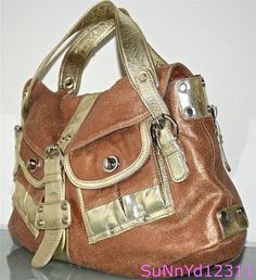 e6d3a4bc06 Anthropologie TANO Handbag Brown Leather Satchel Tote Gold Trim Large  Shoulder  Tano  Satchel Brown
