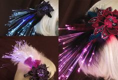 Custom orders are encouraged! Create your own fiber optic, feather hair clip by Team Rainbow Designs! #glowing #hairclip #accessory #feathers #fiberoptics #glowing #accessory #headband #feathers #fiberoptics #halloween #mardigras #musicfestival #unique #raveaccessory
