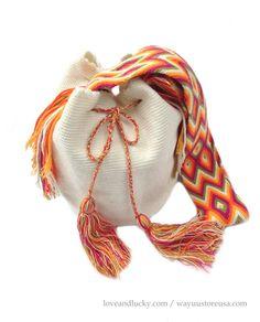 Authentic Wayuu Bags Wayuu Mochilas Bags Crossbody 11 in. H x 9 in. W - Strap drop 22 in. Knit Or Crochet, Crochet Bags, How To Make Purses, Ethnic Bag, Boho Accessories, Boho Bags, Crochet Handbags, Tapestry Crochet, Handmade Bags