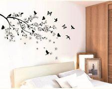 W054 Wandtattoo Schlafzimmer übers Bett Wohnzimmer Esszimmer Ast Blätter Vögel