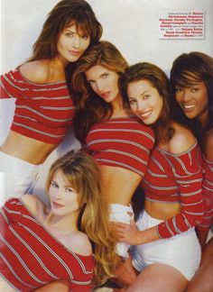 Helena Christensen, Stephanie Seymour, Christy Turlington, Naomi Campbell and Claudia Schiffer (bottom left).
