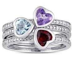 Miadora Signature Collection 14k White Gold Amethyst Garnet Sky- Topaz 1/10ct TDW Diamond Heart Ring Set