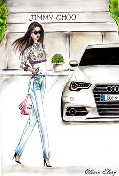Jimmy Choo/Chanel/Audi- fashion Illustration by OLIVIA ELERY at Coroflot.com