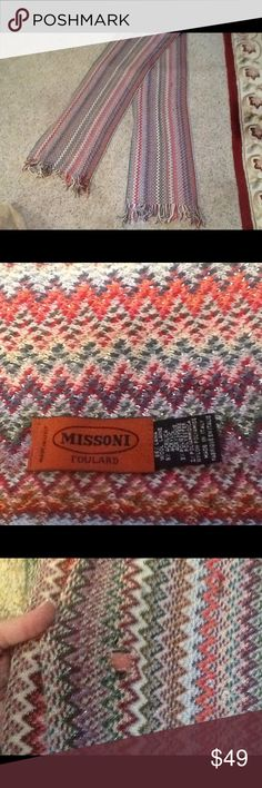 MISSONI FOULARD ZIG ZAG KNIT FRINGE SCARF A beautiful Missoni Foulared Italy knit scarf.  Gorgeous classic zigzag pattern and multicolor design.  Beautiful fringe edges.  Minor wear throughout.  Nice condition with exception to one tiny hole, shown.  The hole is the size of the tip of your pinky.  Not visible when worn wrapped around your neck.  Sold As is, and is a final sale!  Great scarf!  Will ship right away.  Check out my other designer items #silk #scarf #Missoni #forsale #shopping…