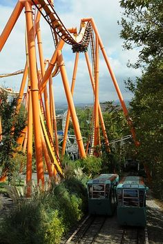 """Ride a """"flying"""" style coaster.   Tatsu, easily the best flying coaster in the world (you lie in prone position like Superman), seen here towering over Six Flags Magic Mountain"""