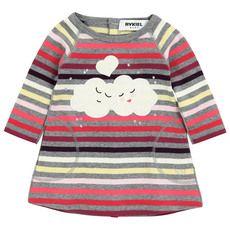 Rykiel Enfant - Robe en jersey rayé multicolore sur fond gris - 43487