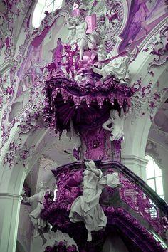 white and purple rococo/baroque