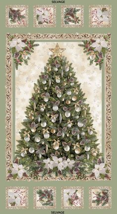 Christmas Ornamets on Green allover Quilting Cotton Fabric BTY