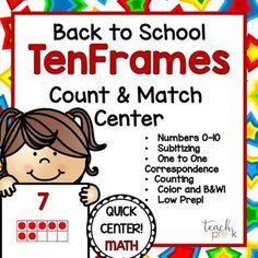 Back to School TenFrames!  Math Center for PreK, K & Homeschool