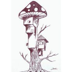 """My doodle today: """"Rumah Pohon Beratap Jamur"""""""