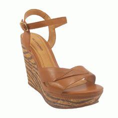 Sandália Anabela Detalhe Tiras e Salto Estampado Feminino Caramelo Bottero - Marcas - Bottero - Anabela : Loja Passo a Passo