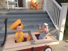 Twin Halloween costume. Mouse and cheese in a mouse trap!