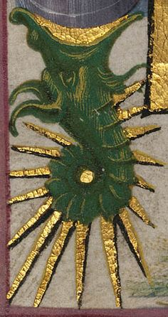 Saint Catherine of Alexandria, 1469, Taddeo Crivelli, detail of the seahorse in the border, from a Book of Hours, Ms. Ludwig, IX 13, fol. 187V