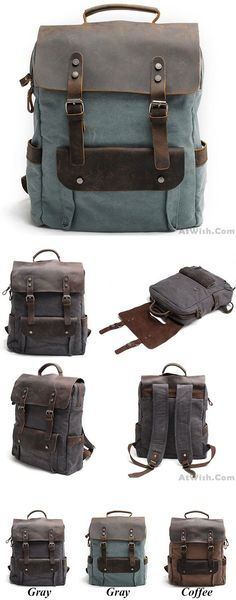 Which color do you like? Vintage Large Laptop Thick Canvas Travel Rucksack Bag Splicing Leather Outdoor Backpacks #vintage #laptop #thick #canvas #backpack #bag #rucksack
