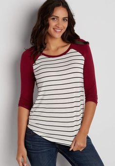 striped baseball tee with rose petal sleeves | maurices