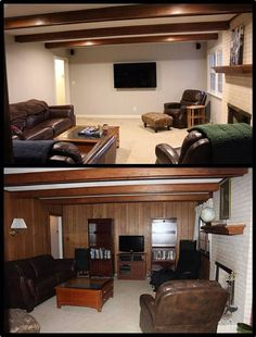 3 Marvelous Clever Ideas: Living Room Remodel With Fireplace Joanna Gaines living room remodel with fireplace interior design.Livingroom Remodel Hardwood Floors living room remodel on a budget projects.Living Room Remodel With Fireplace Joanna Gaines. Paint Over Wood Paneling, Wood Paneling Makeover, Basement Makeover, Wood Panel Walls, Paneling Ideas, Paneling Walls, Painting Paneling, House Painting, Diy Painting