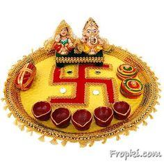Hindu Thali | ... : Diya Thali, Diwali Traditional Puja Thali, Special Pooja Thali