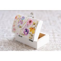 """Small white wooden box with watercolor flowers """"Vintage Wedding""""... ❤ liked on Polyvore featuring home, home decor, small item storage, wooden flower boxes, wooden jewellery box, wood jewelry box, wood flower box and handmade wooden boxes"""