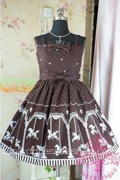 Cheap Lolita Floral Brown Cotton Sleeveless Ruffles Bow Sweet Dress Sale At Lolita Dresses Online Shop