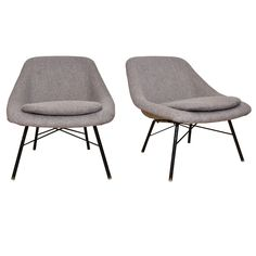 Two 1950s Easy Chairs by Geneviève Dangles