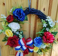 Check out this item in my Etsy shop https://www.etsy.com/listing/528674369/patriotic-floral-wreath-4th-of-july