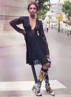 Elle US October 2014; Model: Jasmine Tookes; Photographer: David Bellemere; Fashion Editor: Samira Nasr; Hair: Wendy Iles; Make-up: Tatsu Yamanaka