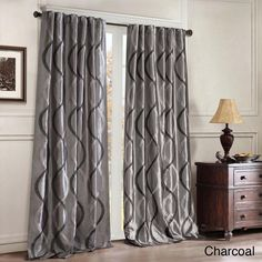 Charcoal Embroidered Oggi Faux Silk Taffeta Window Curtain 95 Inches Single Panel Silver Fabrics Color Window Treatment Blackout Lined Contemporary