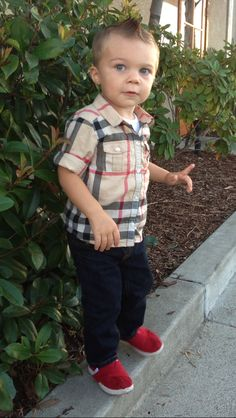 Toddler boys fashion. Burberry, Joes Jeans, Toms