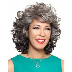 The latest synthetic and human hair wigs from Raquel Welch, Jon Renau, and more. Grey Curly Hair, Grey Wig, Curly Hair Styles, Natural Hair Styles, Silver Wigs, Wig Styles, Synthetic Wigs, Textured Hair, Hair Pieces