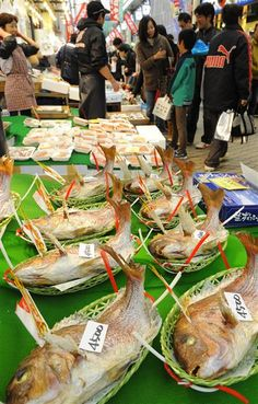 Grilled Sea Breams for New Year Cerebration in Uonotana Market, Akashi, Japan 明石 魚の棚