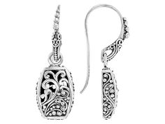 Artisan Collection Of Bali(Tm) Oxidized Sterling Silver Filigree Earrings