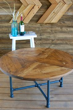 Round Pattern Industrial Coffee Table, Reclaimed Wood Furniture, Industrial Pipe Legs, Rustic Table - Free Shipping