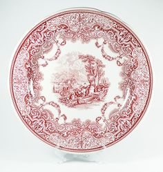 Spode Archive Collection Victorian Series Continental Views Cranberry Plate #Spode #ArchiveCollection #Victorian #ContinentalViews