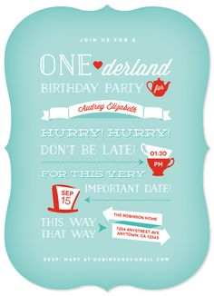 One-Derland / Onederland. Whimsical children's birthday party invitation ideal for a first birthday. Features illustrations of tea cups, tea kettles, and top hats reminiscent of the children's classic Alice in Wonderland. Designed by Hatch & Mingle.