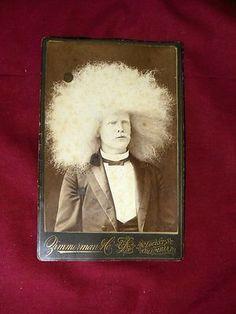 Vintage CDV Photo Albino Man with Huge Afro Hair Circus Sideshow Freak Oddity   eBay