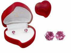 Amazon.com: Austrian Crystal Stud Earrings : Pink Sapphire Crystal color in Sterling Silver with Heart-Shaped Gift Box: Everything Else